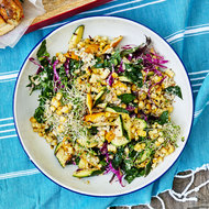 Food & Wine: Grilled Squash, Corn and Kale Salad with Sunflower Seed Vinaigrette