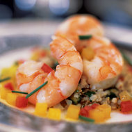 Food & Wine: Herb-Poached Shrimp with Cauliflower Couscous and Brown Butter