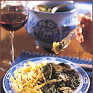 Food & Wine: Tangy Lamb Stew with Lettuce and Scallions