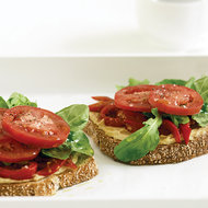 Food & Wine: Open-Faced Roasted Pepper and Hummus Sandwiches