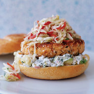Food & Wine: Pan-Fried Salmon Burgers with Cabbage Slaw and Avocado Aioli