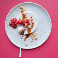 Food & Wine: Panna Cotta with Berry Granita and Caramel