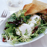 Food & Wine: Poached Eggs with Pancetta and Tossed Mesclun