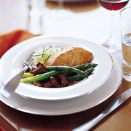 Food & Wine: Olive Oil Poached Salmon with Chanterelles and Asparagus