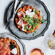 Food & Wine: Tater Tot Waffles with Prosciutto and Mustard