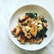 Food & Wine: Quick Roast Chicken with Herbed Croutons