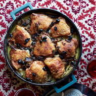 Food & Wine: Braised Chicken Thighs with Potatoes, Porcini and Dried Cherries