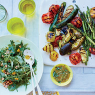 Food & Wine: Grilled Vegetables and Summer Greens with Shallot Vinaigrette