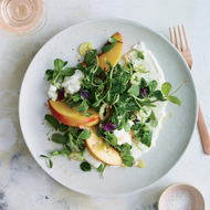 Food & Wine: Burrata Salad with Peaches, Pickled Pepper and Pea Tendrils