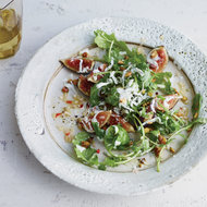 Food & Wine: Fig and Arugula Salad with Grated Frozen Gorgonzola Piccante
