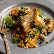 Food & Wine: Pan-Seared Pickerel on Mixed Vegetable-and-Crab Panzanella