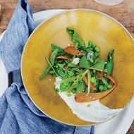 Food & Wine: Peas with Ricotta and Spring Onion Kimchi