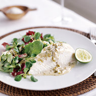 Food & Wine: Roasted Halibut with Green Olive Sauce