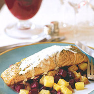 Food & Wine: Salmon with Arugula Cream and Soy-Braised Beets