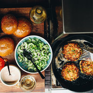 Food & Wine: Salmon Burgers with Harissa Mayonnaise