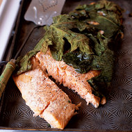 Food & Wine: Salmon Fillet Baked in Fig Leaves with Garlicky Potatoes