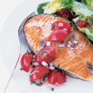 Food & Wine: Salmon Steaks with Grape Tomatoes and Mint