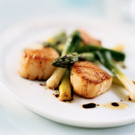 Food & Wine: Seared Scallop Salad with Asparagus and Scallions