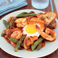 Food & Wine: Shrimp, Asparagus and Eggs in Spicy Tomato Sauce