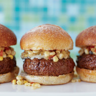 Food & Wine: Skirt Steak Burgers with Tomatillo-Corn Relish