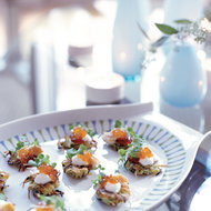 Food & Wine: Zucchini Latkes with Red Pepper Jelly and Smoked Trout