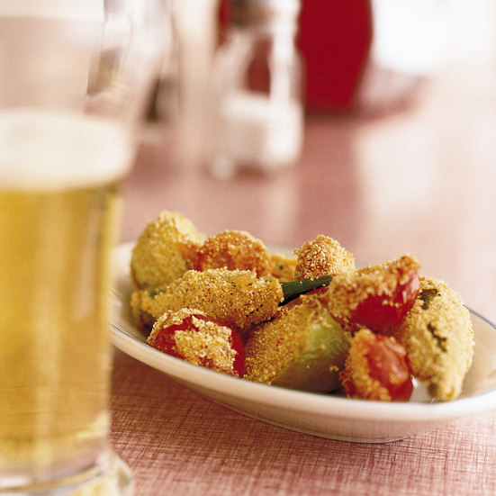 Cornmeal-Fried Okra, Tomatillos and Tomatoes Recipe - Michael Lomonaco ...
