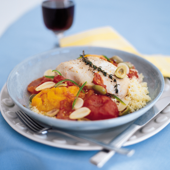 Tomato-Braised Chicken Breasts with Green Olives