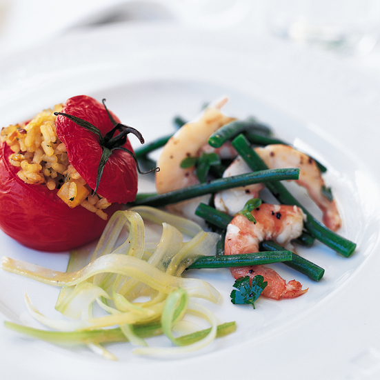Baked Tomatoes Stuffed with Herbed Rice