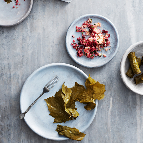 Grape Leaves with Quinoa, Shrimp and Beets