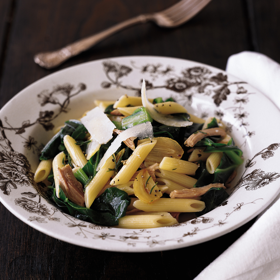 Penne with Braised Greens, Turkey and Rosemary
