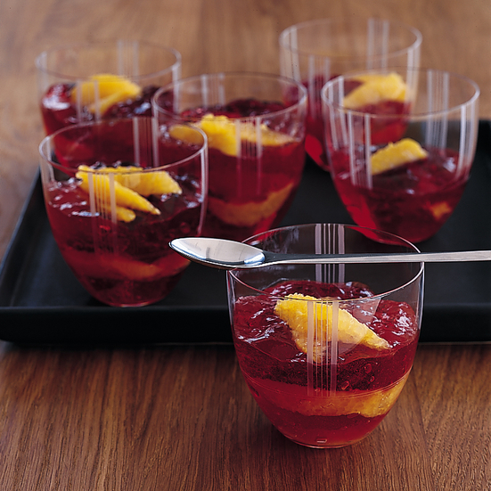 Cranberry Champagne Gelée with Oranges