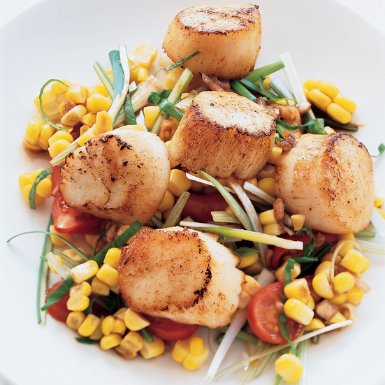 Grilled Sea Scallops with Corn Salad