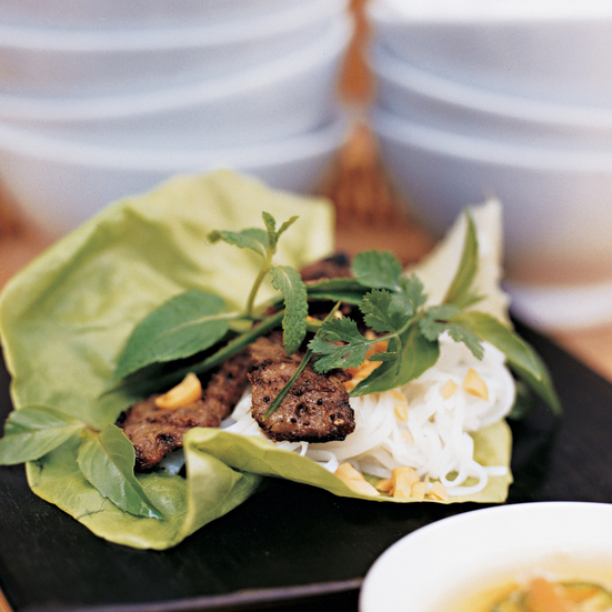Lemongrass Beef Rolls with Rice Noodles