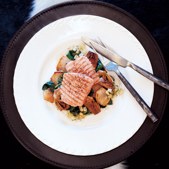 Salmon with Baby Artichokes and Sunchokes