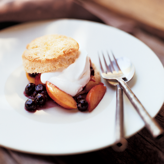 Warm Nectarine and Blueberry Shortcakes