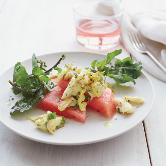 Curried Crab and Watermelon Salad with Arugula