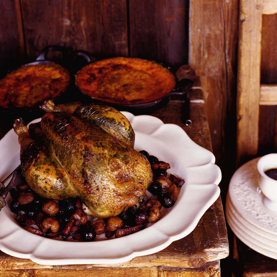 Roast Chicken with Grapes, Chestnuts and Tarragon Butter