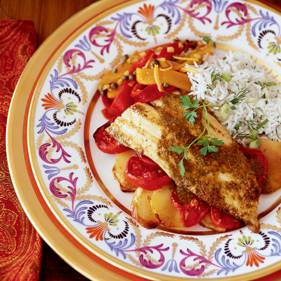 Roasted Fish with Charmoula, Tomatoes and Potatoes