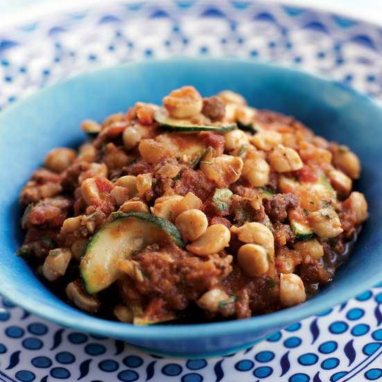 Zucchini Musakka with Chickpeas and Spiced Lamb