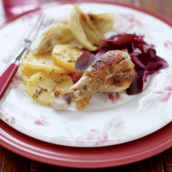 Baked Chicken with Potatoes, Fennel and Mint
