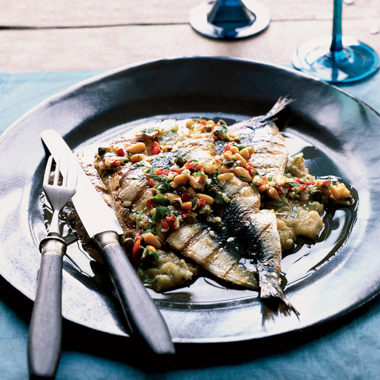 Grilled Sardines with Eggplant Puree and Tarragon Dressing. Photo © Dana Gallagher