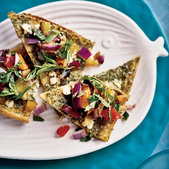 Chickpea Panelle with Goat Cheese and Salsa Rustica