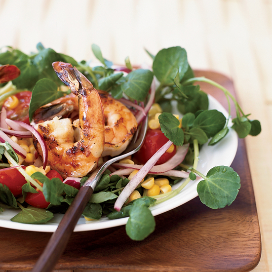 Corn and Tomato Salad with Shrimp and Watercress
