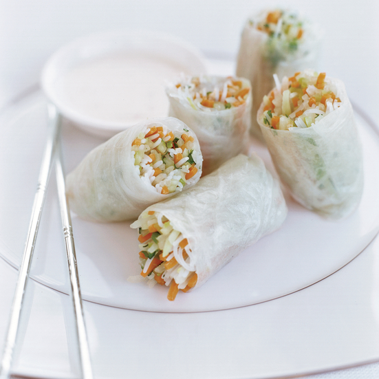 Daikon-Papaya Summer Rolls with Minted Yogurt Sauce Recipe - Douglas ...