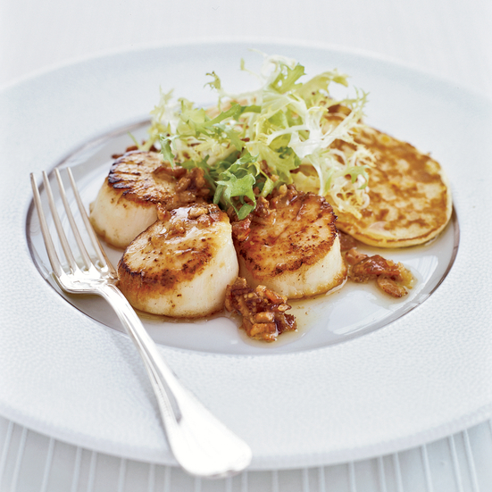 Seared Scallops and Corn Cakes with Bacon Vinaigrette Recipe - Stewart ...