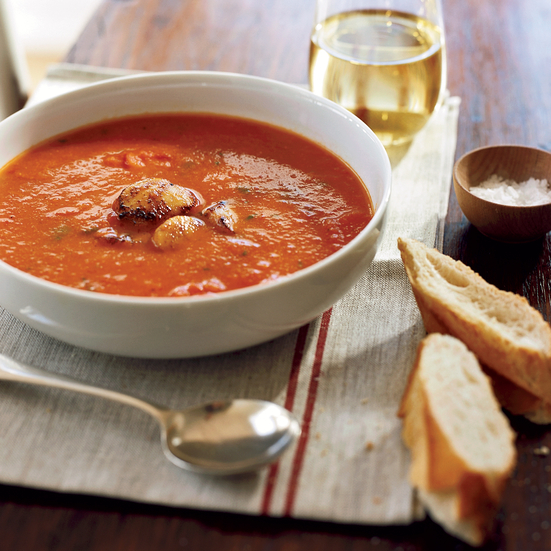 Roasted Red Pepper Soup with Scallops