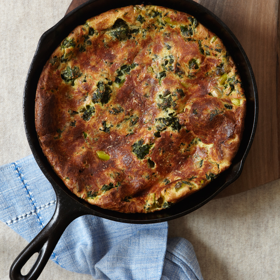 Spinach and Scallion Dutch Baby