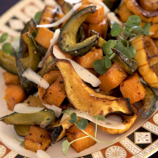 roasted squash with maple syrup and sage cream caramelized vegetables ...