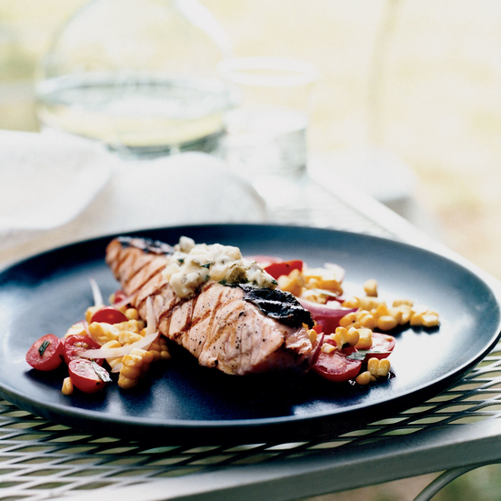 ... Salmon with Dill Pickle Butter Recipe - Marcia Kiesel | Food & Wine