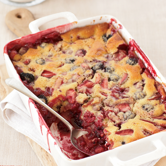 Mixed-Berry Spoon Cake